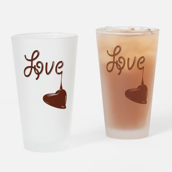 Love chocolate Drinking Glass