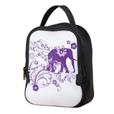 Elephant Swirls Purple Neoprene Lunch Bag