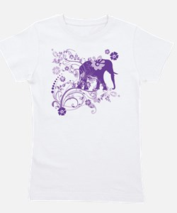 Elephant Swirls Purple Girl's Tee