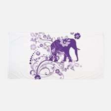 Elephant Swirls Purple Beach Towel