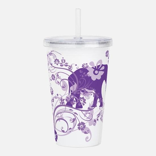 Elephant Swirls Purple Acrylic Double-wall Tumbler