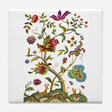 Tree of Life Jacobean Embroidery Tile Coaster