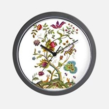 Tree of Life Jacobean Embroidery Wall Clock