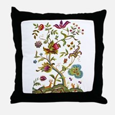 Tree of Life Jacobean Embroidery Throw Pillow