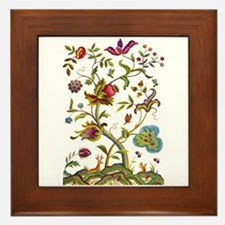 Tree of Life Jacobean Embroidery Framed Tile