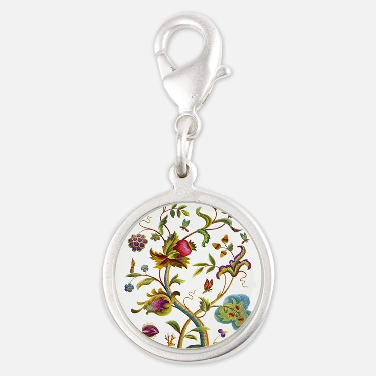 Tree of Life Jacobean Embroide Silver Round Charm