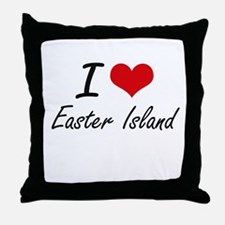I love Easter Island Throw Pillow