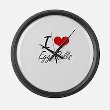 I love Egg Rolls Large Wall Clock