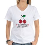 Good Things Cherry Twin Women's V-Neck T-Shirt