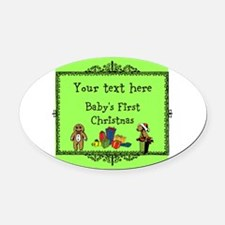 Customizable Babys First Christmas Oval Car Magnet
