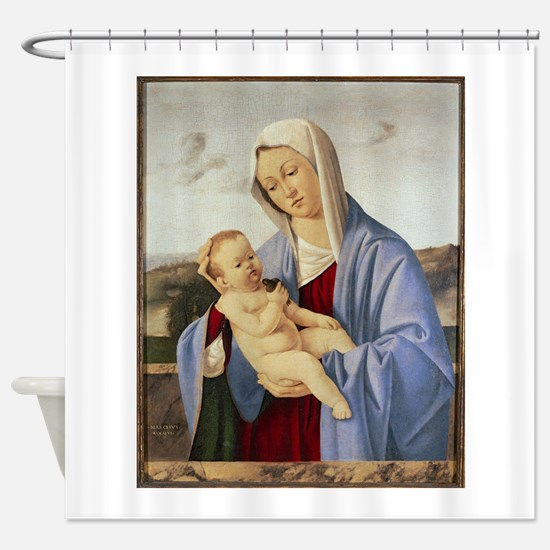 Vintage Painting of Madonna and Child Shower Curta