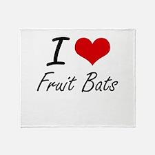 I love Fruit Bats Throw Blanket