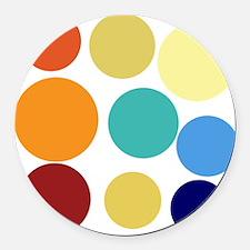 Cute Bright Polka Dots Fun Round Car Magnet