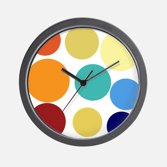 Cute Bright Polka Dots Fun Wall Clock