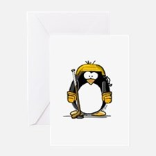 Gold Hockey Penguin Greeting Card