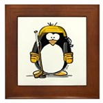 Gold Hockey Penguin Framed Tile