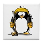 Gold Hockey Penguin Tile Coaster