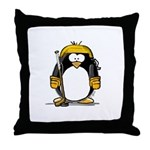 Gold Hockey Penguin Throw Pillow
