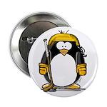 Gold Hockey Penguin Button