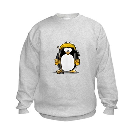 Gold Hockey Penguin Kids Sweatshirt