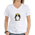 Gold Hockey Penguin Women's V-Neck T-Shirt