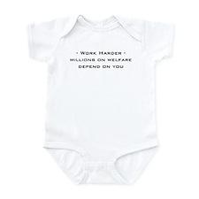 work harder, millions on welf Infant Bodysuit