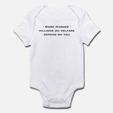 work harder, millions on welf Infant Bodysuit