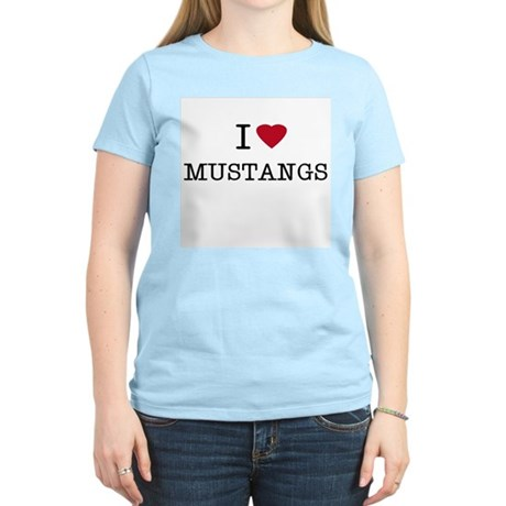 I Heart Mustangs Women's Pink T-Shirt