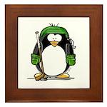 Green Hockey Penguin Framed Tile