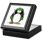 Green Hockey Penguin Keepsake Box