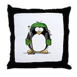 Green Hockey Penguin Throw Pillow
