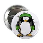 Green Hockey Penguin Button