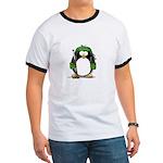 Green Hockey Penguin Ringer T