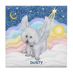 Dusty in Heavenly Pastel Clouds Tile Coaster