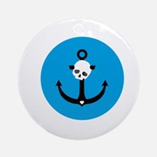 Anchor with Skull Round Ornament