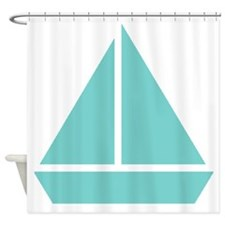 Mint Sail Boat Shower Curtain