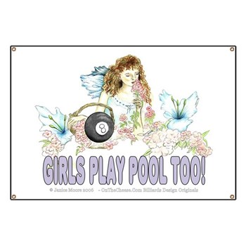 Girls Play Pool Too Wildflower Fairy Banner