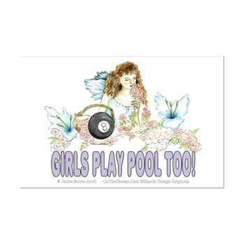 Girls Play Pool Too Wildflower Fairy Poster