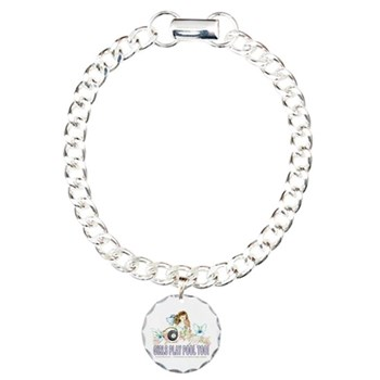 Girls Play Pool Too Wildflower Fairy 8 Ball Charm Bracelet