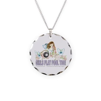 Girls Play Pool Too Wildflower Fairy 8 Ball Billiards Necklace