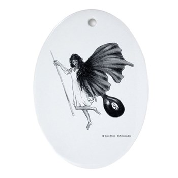 8 Ball Fairy Pool Angel Oval Keepsake Ornament