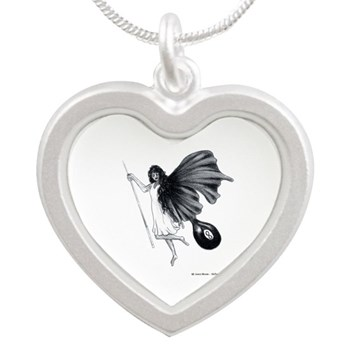 8 Ball Fairy, Billiard Pool Angel Silver Heart Necklace