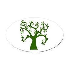 tree stylized nature graphic Oval Car Magnet