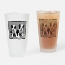 Boston Terrier puppies Drinking Glass