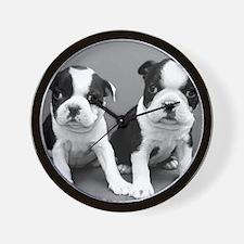 Boston Terrier puppies Wall Clock