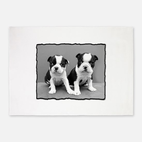 Boston Terrier puppies 5'x7'Area Rug