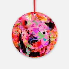 Sweet Piglet Graffiti Round Ornament