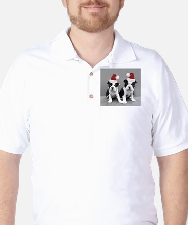 Christma Boston Terriers Golf Shirt