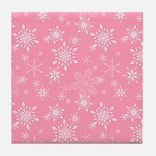 Snowflakes Pink Tile Coaster