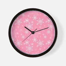 Snowflakes Pink Wall Clock